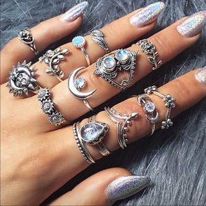 14 pc Vintage Bohemian Rings
